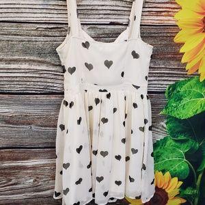 Delia*s cream with black hearts dress